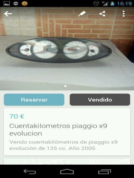 Cuentakilometros de piaggio x9 125cc.